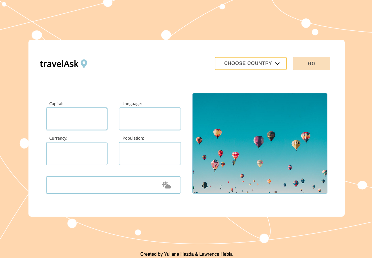 Screenshot of the Travel Ask project